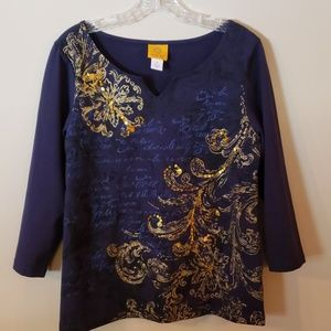 Ruby Rd. navy  blue top size medium